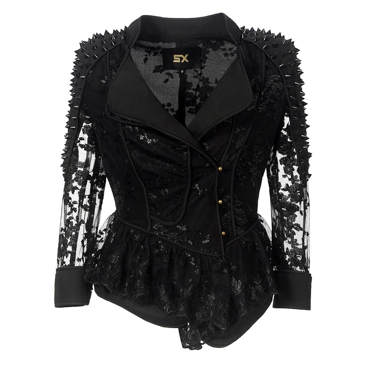 Automne dentelle MANTEAU Mode Noir Gothique punk Femmes Veste Lâche Floral Broderie Filles Vintage Manteaux Mignon Femelle Vestes 2018