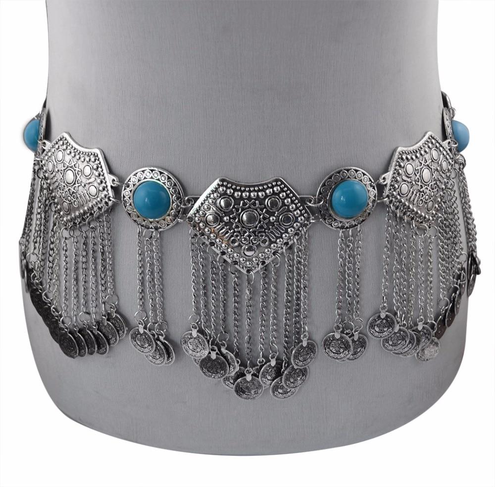 Image 4 - Цыганское серебряное металлическое платье с цветком в стиле бохо, турецкое богемное платье с ремнем для танца живота, поясная цепь с монетками, сексуальное индийское украшение для телаУкрашения для тела   -