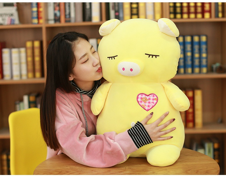 large 60cm lovely yellow pig plush toy squintting eyes design pig soft cotton doll throw pillow birthday gift w2203 cartoon cat doll about 60cm bowtie cat plush toy soft throw pillow birthday gift x107