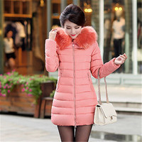 Women Winter Wadded parka,Fur Collar Hooded Jacket Lady Long Slim Cotton jacket,fashion Winter parka,coat Warm Jacket TT811
