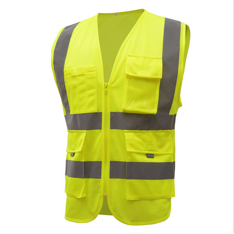 New high quality high brightness zipped style comfortable and breathable safety vest reflective workwear overalls e0980  high quality comfortable and