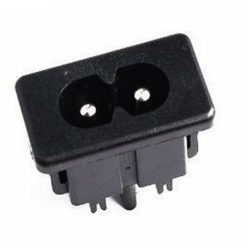 5Pcs AC250V 2.5 A IEC320 C8 Mâle 2 Pins Power Inlet Socket Panel intégré