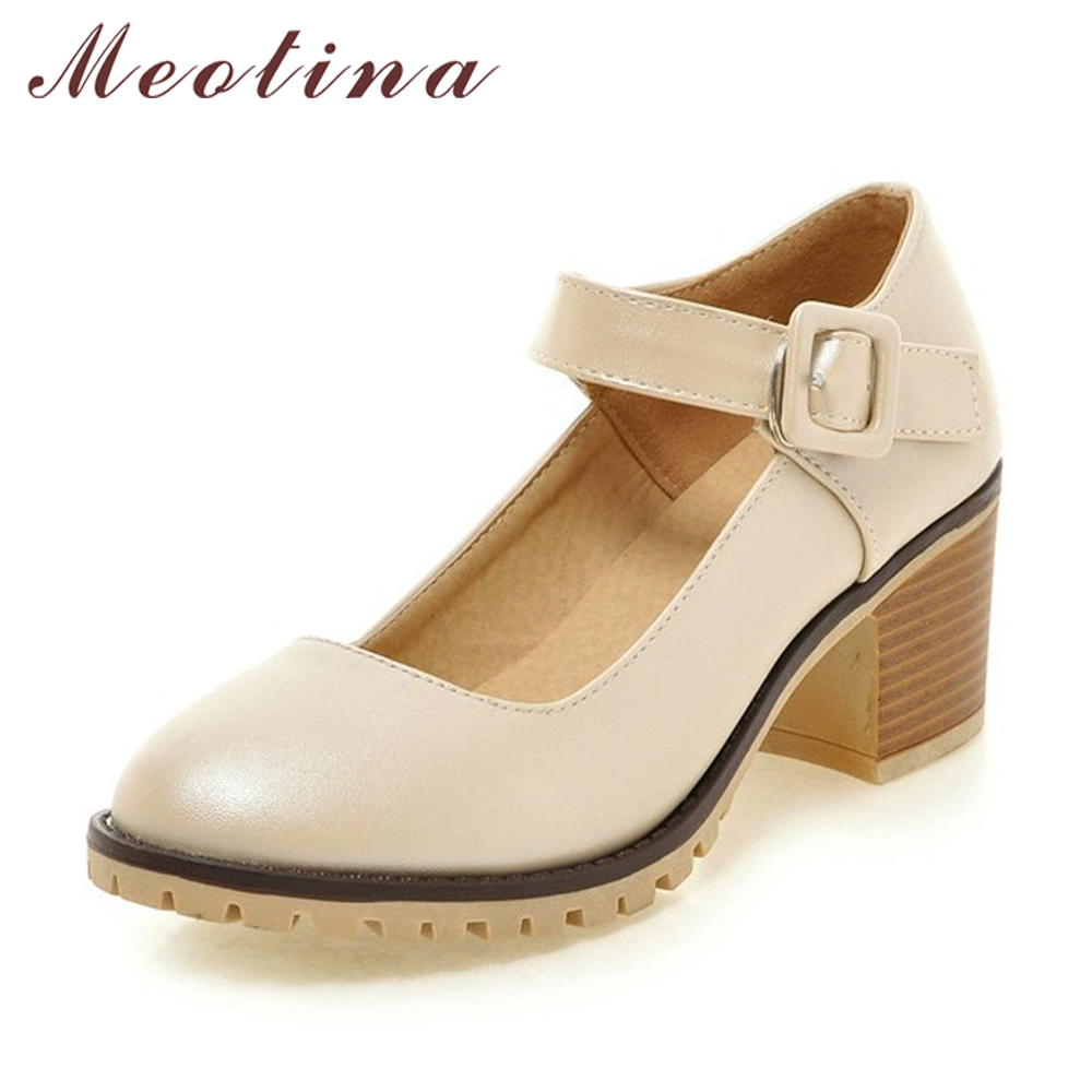 Meotina Shoes Women Round Toe Spring Pumps Chunky High Heels Mary Janes Causal Ladies Shoes Thick Heels White Beige Black 34-43
