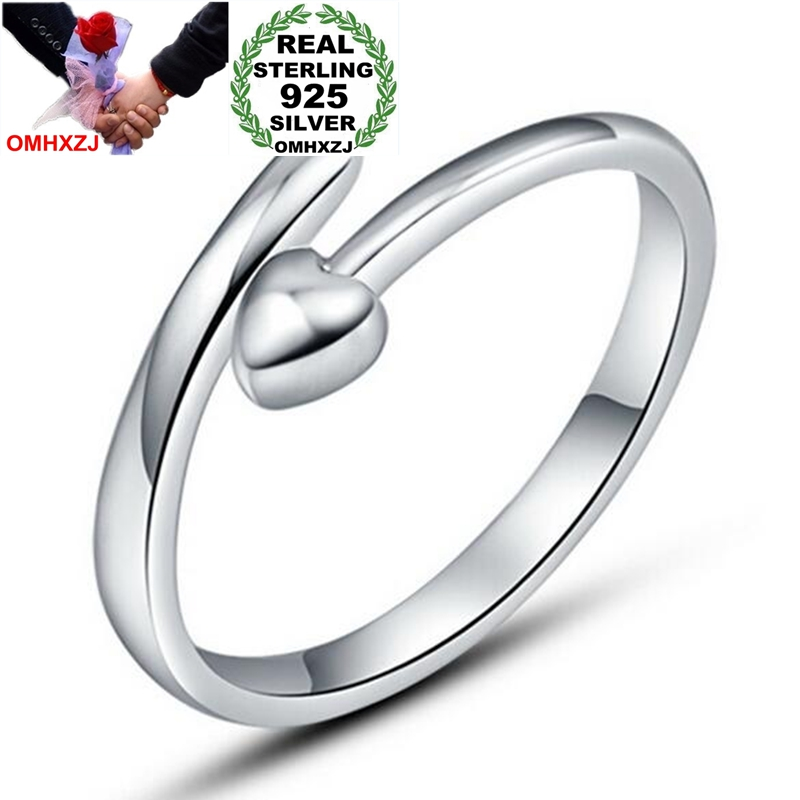 OMHXZJ Wholesale Fashion Everlasting Heart  Lovers Couple 925 Sterling Silver Open Adjust Female For Woman Man Ring Gift RG27