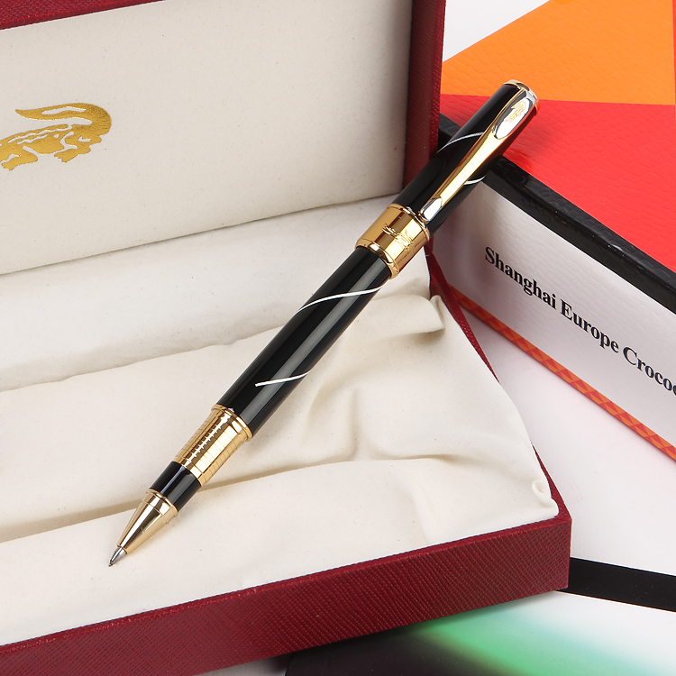 Luxury aymoy 316 black marble grain roller ball pens Stationery Office School Supplies elegant Crocodile writing pens for gift luxury marble