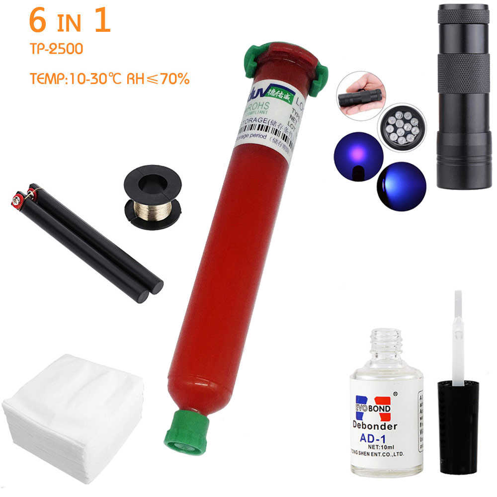 6 in1 LOCA tp-2500 UV Glue 50ml +12led UV curing light+Uv Glue Remover 20g +Cutting Wire 50m+clothes For LCD Touch Screen Repair
