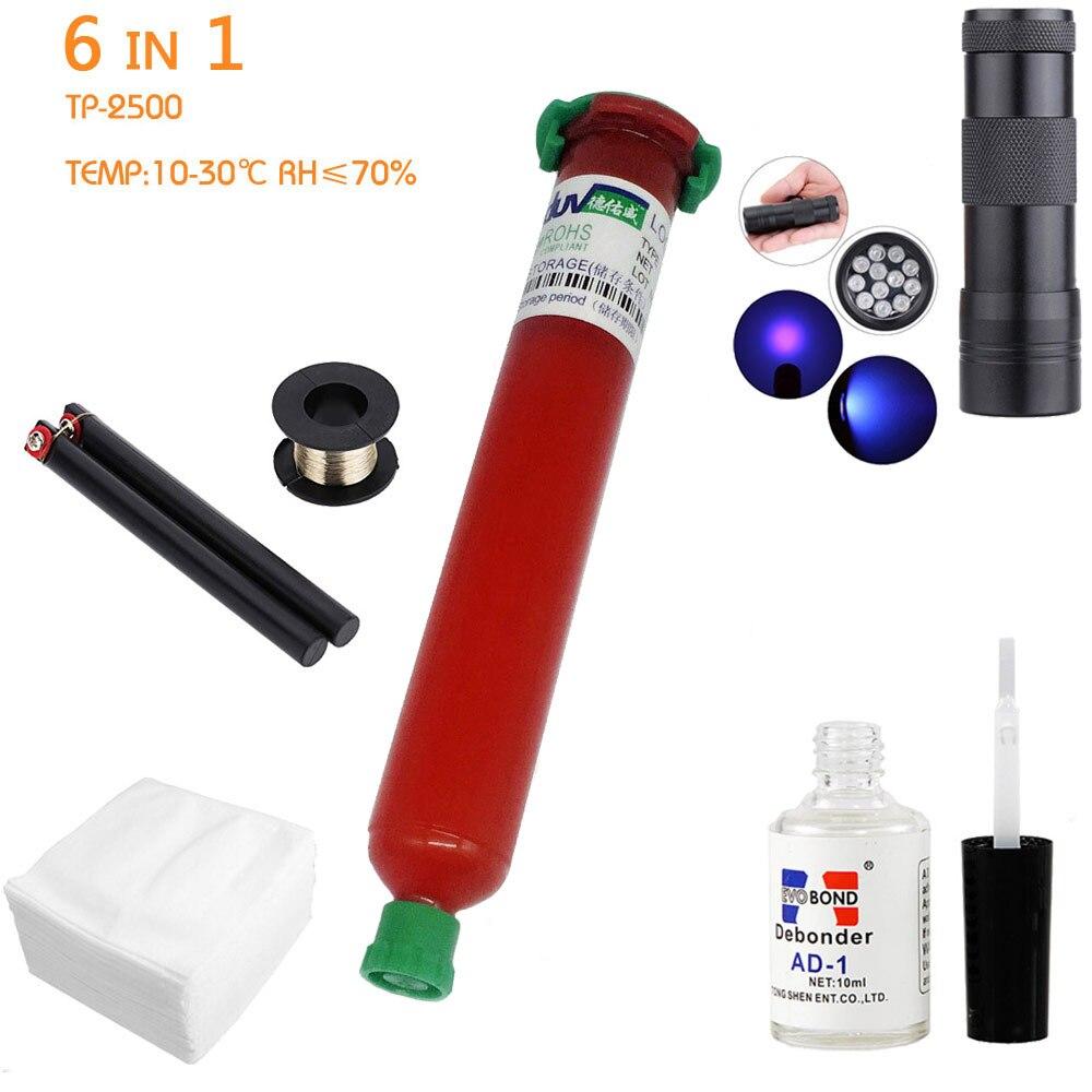 6 in1 LOCA tp-UV Colla 50 ml + 12led uv che cura la luce Uv + Rimozione della colla 20g + Taglio a Filo 50 m + vestiti Per La Riparazione LCD Touch Screen