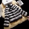 Nuevo Invierno Real Rex Rabbit Fur Coats For Women Todo Chinchill Genuino Chaqueta de piel de Piel Femenina Abrigo de Piel Más El Tamaño BF-C0078