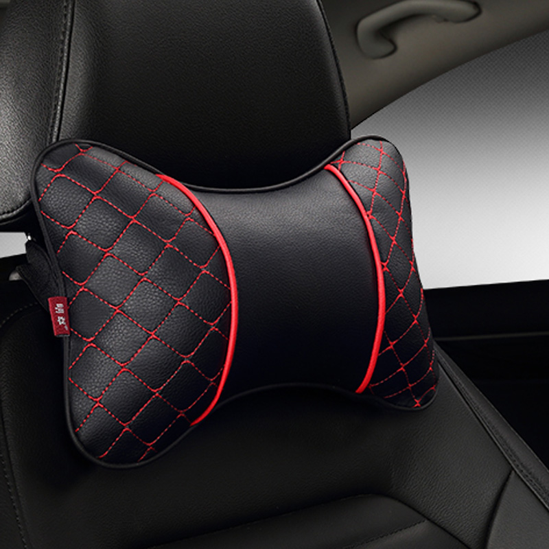 2018 Brand New Single Piece Artificial Leather Car Neck Pillows Comfortable Universal Headrest Fit For Most Cars Fill With Fiber