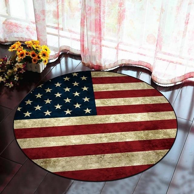 American Flag Green Leaves Round Carpet Kids Room Children Boys Sport Room  Area Rugs Cloakroom Chair