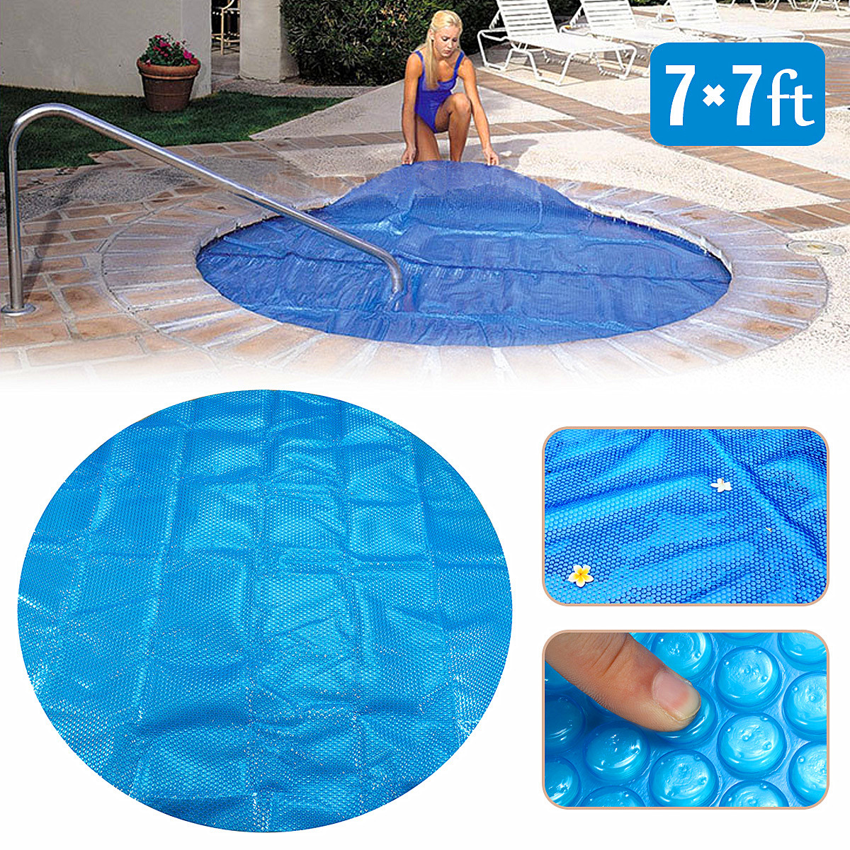 7ft x 7ft Round Family Pool Swimming Pool Hot Tub Heat Retention ...