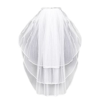 3 Layers Women Bridal White Wedding Tulle Veil Ribbon Edge Faux Pearl Beaded Embellishment Center Cascade Marriage Solid Color Bridal Veils