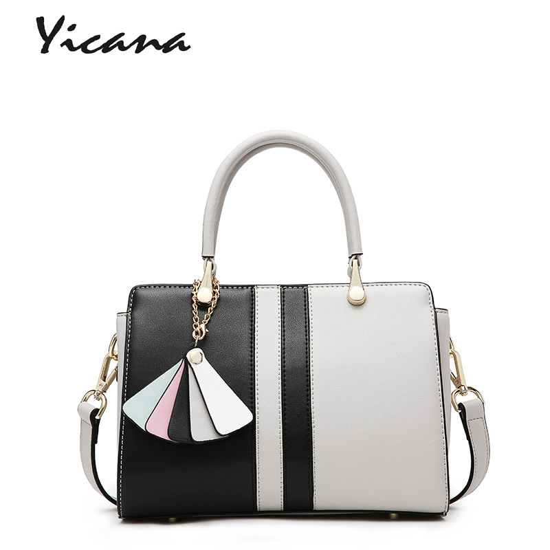 все цены на Yicana 2018 Spring/Summer New Style Cow Leather women handbag platinum package collision color shoulder bag