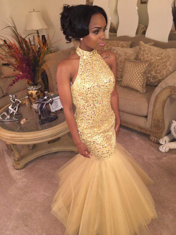 Unique Black Girl African Halter Crystal Beaded Sequin Gold Mermaid