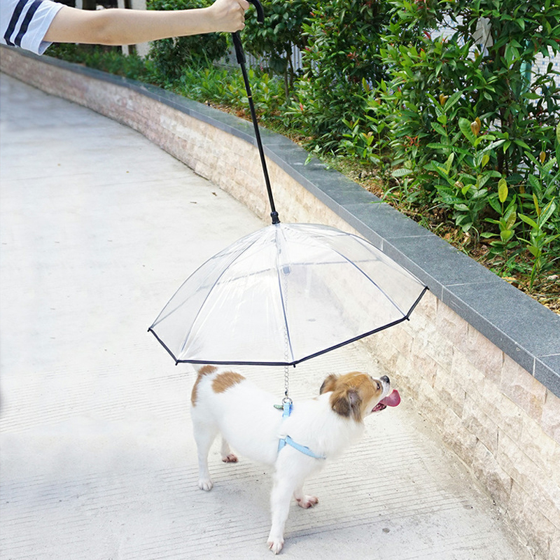Dog Transparent Raincoat Pet Portable Built-in Leash Puppy Cat Umbrella Waterproof Outdoor Travel Pet Protect Raincoats Supplies