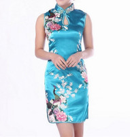 Sexy Light Blue Chinese Women S Silk Rayou Halter Cheong Sam Mini Qipao Dress Flower Size