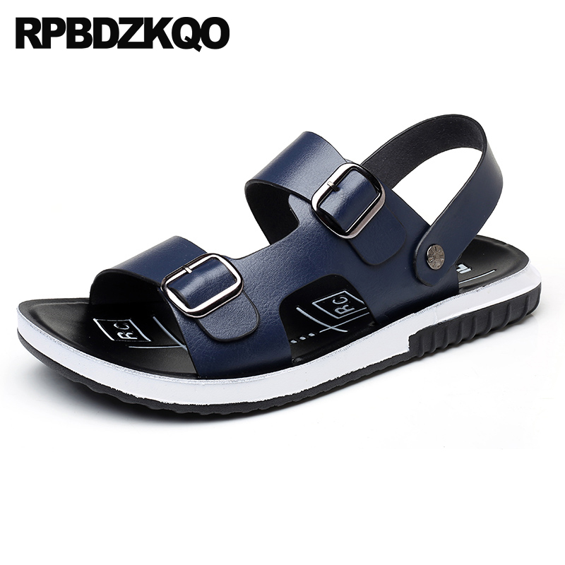 35cb0cf7bc2cd Breathable Strap Sneakers Blue Slides Slip On Runway Slippers Italian Men  Sandals Leather Summer Flat Water Brown Shoes Casual
