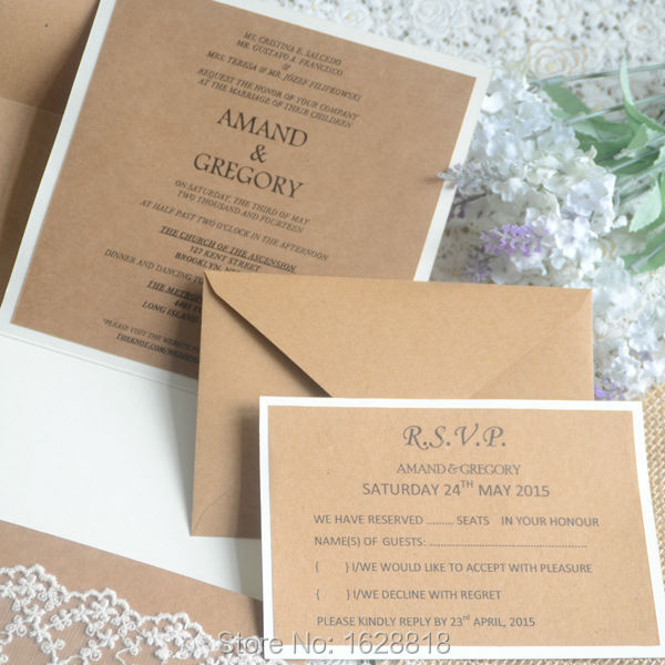 Wedding Invitation Vintage Lace Craft Paper