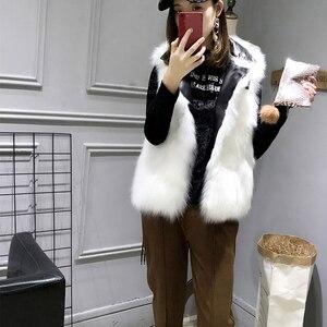 Image 5 - FTLZZ nouvelles vestes en cuir synthétique polyuréthane femmes blanc fausse fourrure gilet + noir Faux cuir Streetwear manteau court hiver femme neige vêtements dextérieur