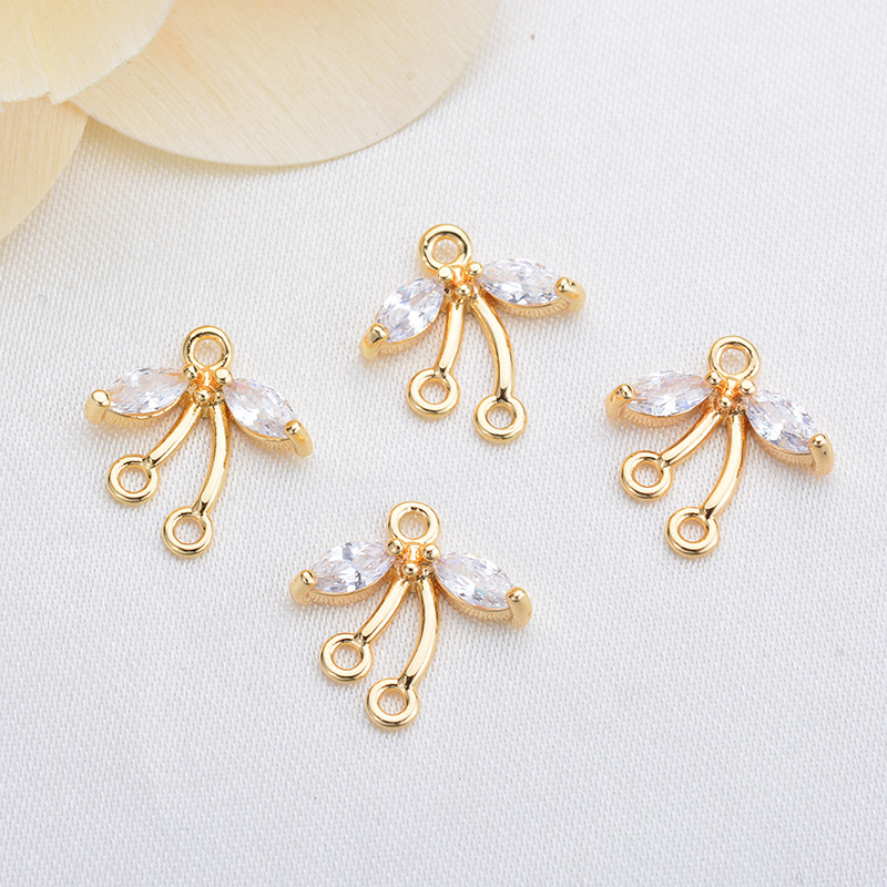 181 6PCS 12x12 5MM 24K Gold Color Brass with Zircon 3 Holes Connector High Quality Diy Jewelry Findings Accessories in Jewelry Findings Components from Jewelry Accessories