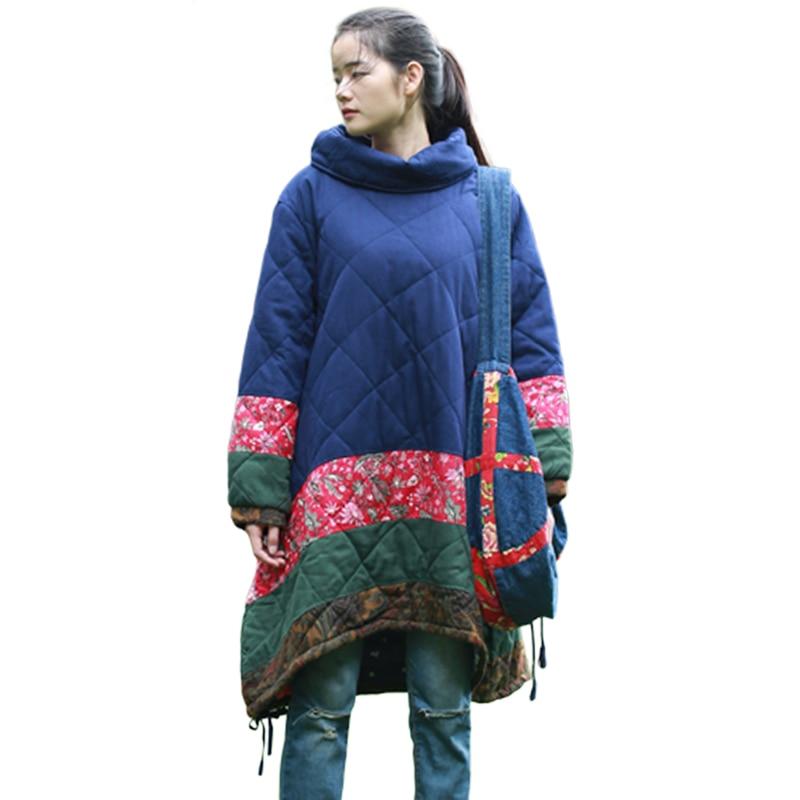Lzjn الشتاء معطف دافئ المرأة سترة القطن مبطن الملابس زائد حجم قمم أكوام طوق الأزياء قميص طويل سترة سترة 15135