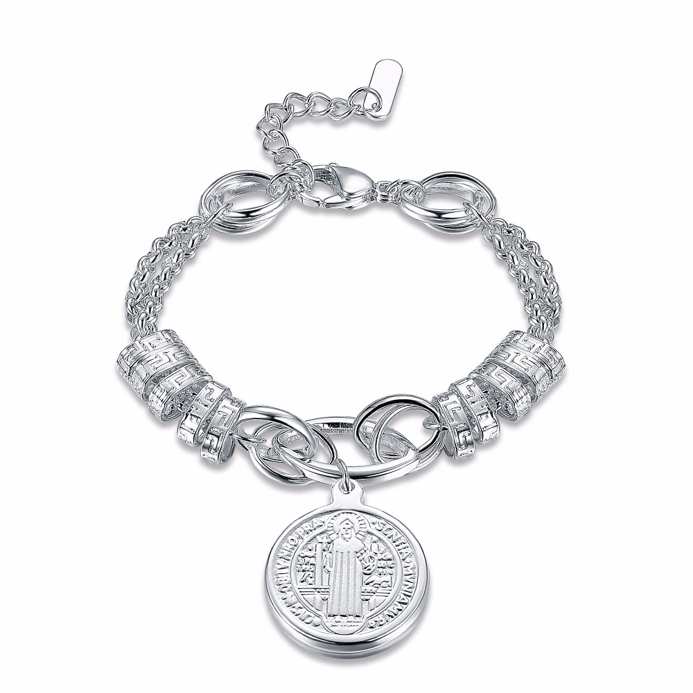 Hot New Silver Plated Chain&link Bracelet luxury Stainless Steel Bracelet for Women Drop Shippping