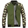 Куртка Мужчины 2016 Новых Осень Мужская Куртка Мода Jacketmen Хлопок Верхняя Одежда Пальто Лоскутное Военный Камуфляж Куртка Для Мужчин