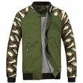 Homens jaqueta de 2016 Novos Homens de Outono Jaqueta Moda Jacketmen Algodão Casacos Outerwear Patchwork Jaqueta de Camuflagem Militar Para Os Homens