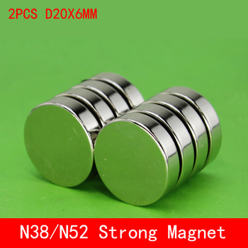 2pcs/lot 20 x 6mm Super Strong Rare Earth Disc 20mm x 6mm Permanet Magnet Small Round N38 N52 Neodymium Magnet 20*6MM