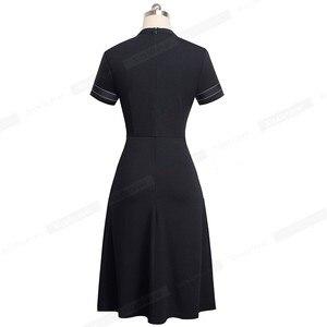 Image 2 - 素敵な永遠のヴィンテージレトロなレースパッチワーク O ネック女性 vestidos ビジネスオフィスパーティーフレア A ライン女性のドレス A140