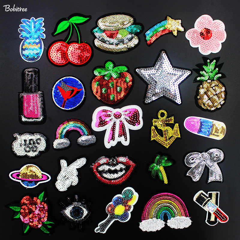 39011efe5031e Cloth Decoration Sequin Patches Iron on Applique for Jacket Jeans Shoes  Backpack Stickers Girl's Sewing Supplies