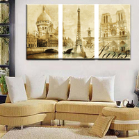 Coloring By Numbers Triptych DIY Painting Calligraphy Paris Landscape Canvas Paintings Set Home Decor Wall Art