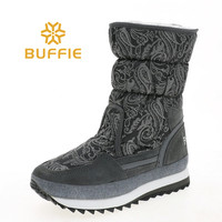 Female boots warm snow shoes mid culf height thick fur insole fashion look upper strong EVA with Rubber outsole cow suede tape