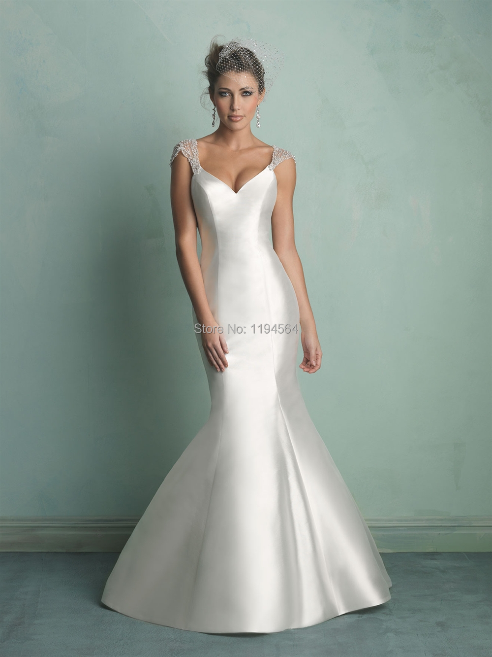 2014 Illusion Back Mermaid Wedding Dresses 2014 Beading Bridal ...
