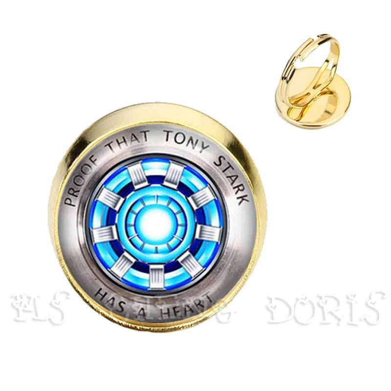 Iron Man Tony Stark Arc Reactor แหวนแก้วโดมแหวน Avengers 4 Endgame Marvel เครื่องประดับสำหรับผู้ชายผู้หญิงขายส่ง