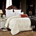 Хлопчатобумажной ткани заполнены с Шерсть Теплой шелковистой зима Пять цветов утешитель Близнец Королевы Полный Королева размер одеяла