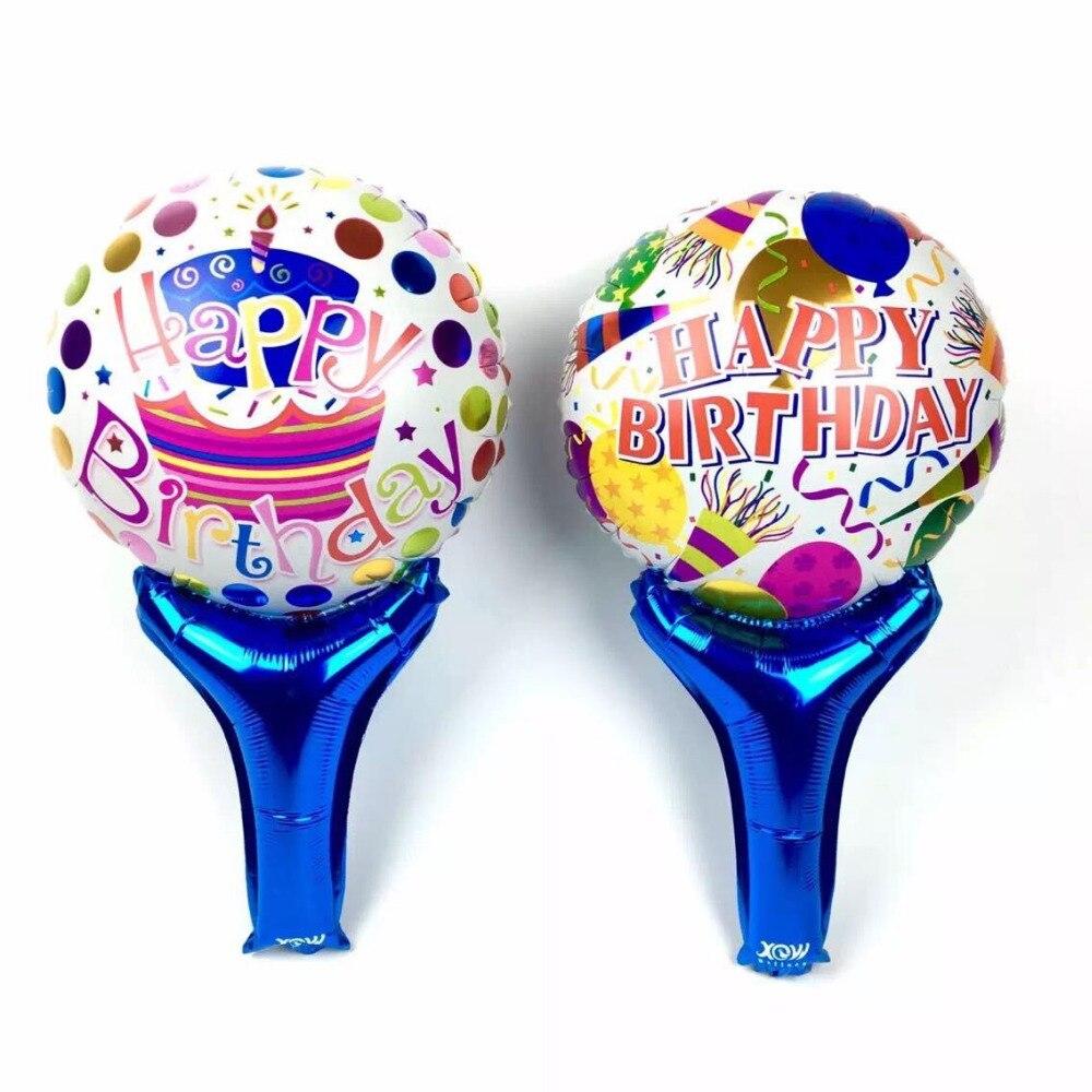 25pcs/lot Happy Birthday Balloons Handle Cartoon Balloons Party Supply Wholesale