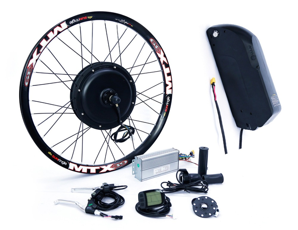 Long distance 48v 1500w rear wheel electric bike conversion kit with 48v 17ah lithium battery pack