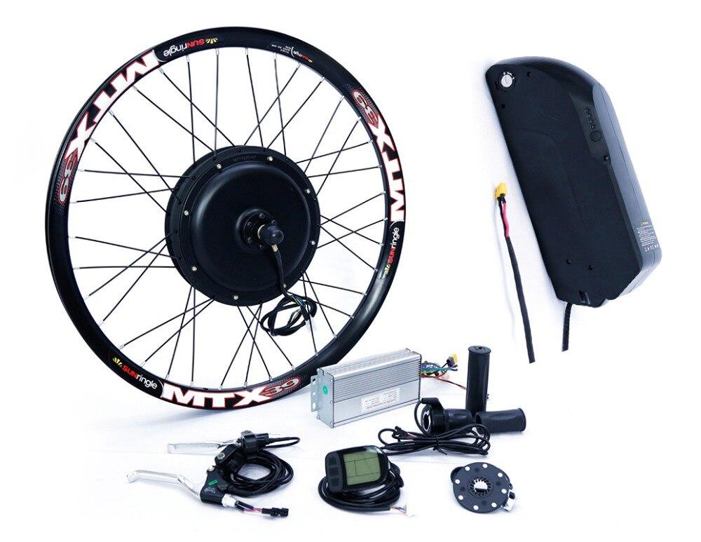 Lunga distanza di 48 v 1500 w ruota posteriore kit di conversione bici elettrica con 48 v 17ah batteria al litio