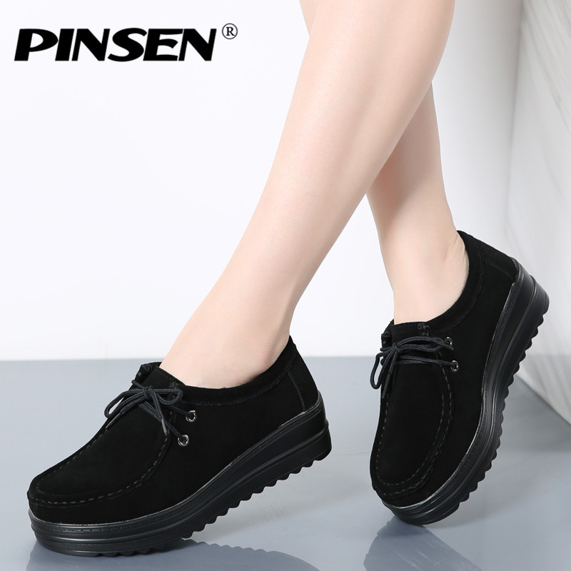 PINSEN Brand Women Flats Platform Shoes Woman Classic Suede Leather Lace Up Women Moccasins Fringe Creepers Female Casual Shoes women oxfords flats shoes leather lace up platform shoes woman 2016 brand fashion female casual white creepers shoes ladies 801