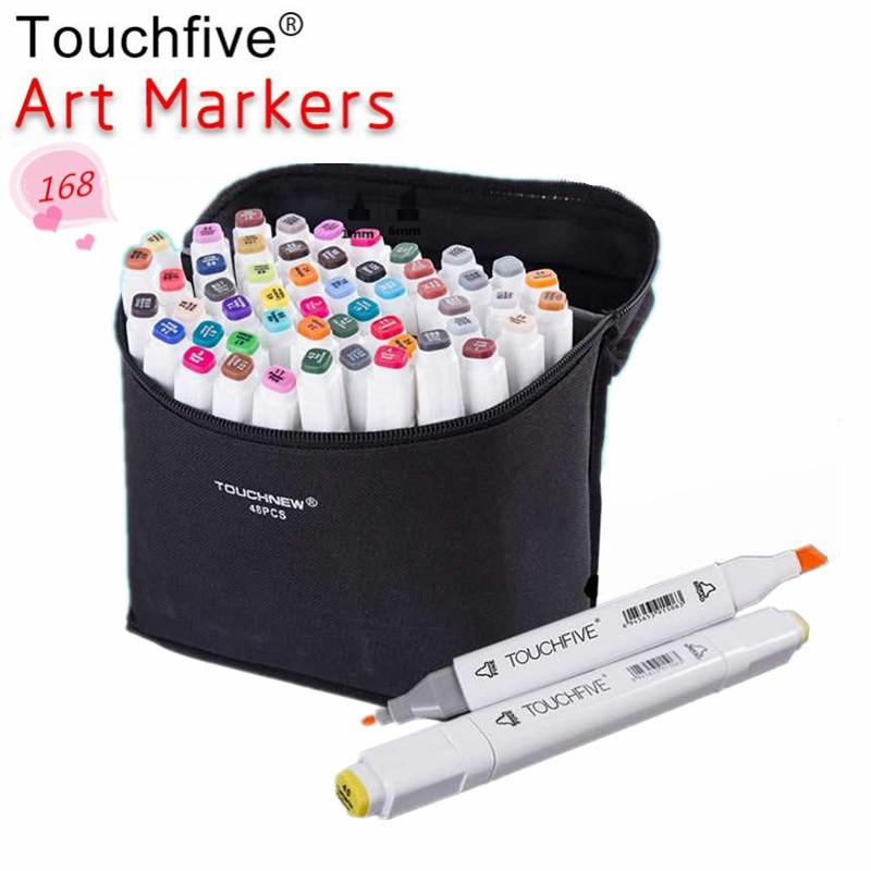 TOUCHFIVE اختياري اللون مطابقة الفن علامات فرشاة القلم رسم الكحول أساس علامات المزدوج رئيس المانجا الرسم أقلام الفن لوازم