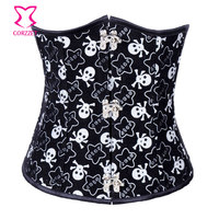 Corzzet Star & Skull Print Black Burlesque Underbust Corset Steel Boned Waist slimming Bustiers Sexy Lingerie Korsetts