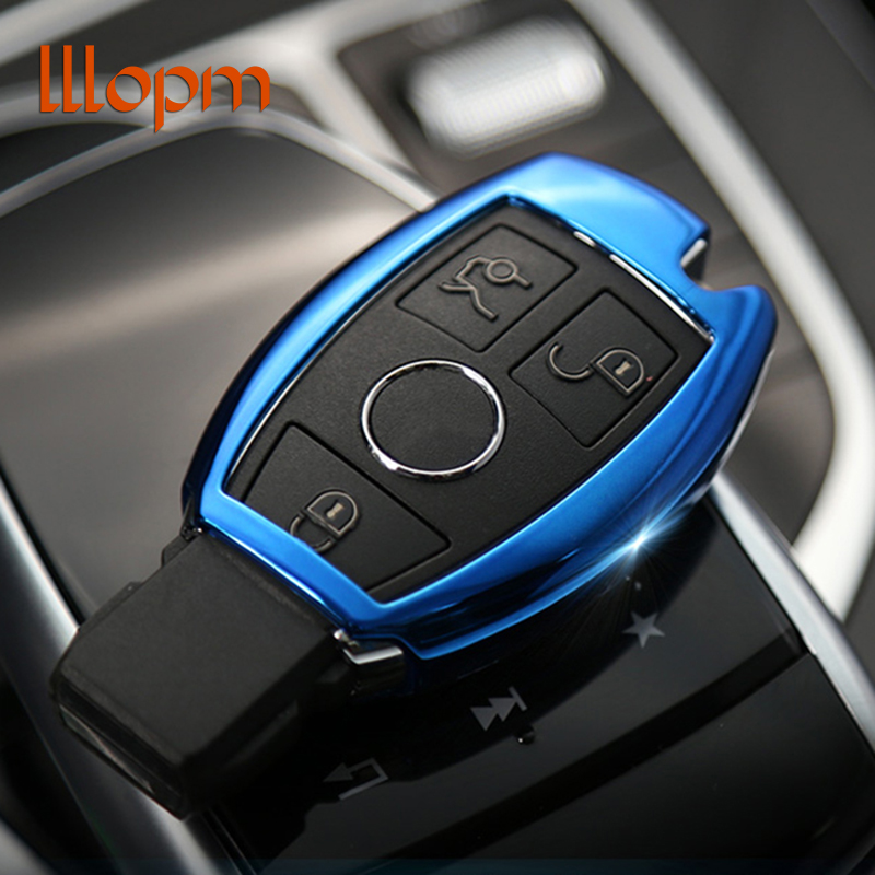 lllopm Car styling Car Key Cover Case Shell Bag Protective Key Ring Chain For Mercedes Benz C Class W205 GLC GLA Car Accessories genuine carbon fiber car auto remote key case cover fob holder skin shell for mercedes benz w213 e200 300 car styling 2017