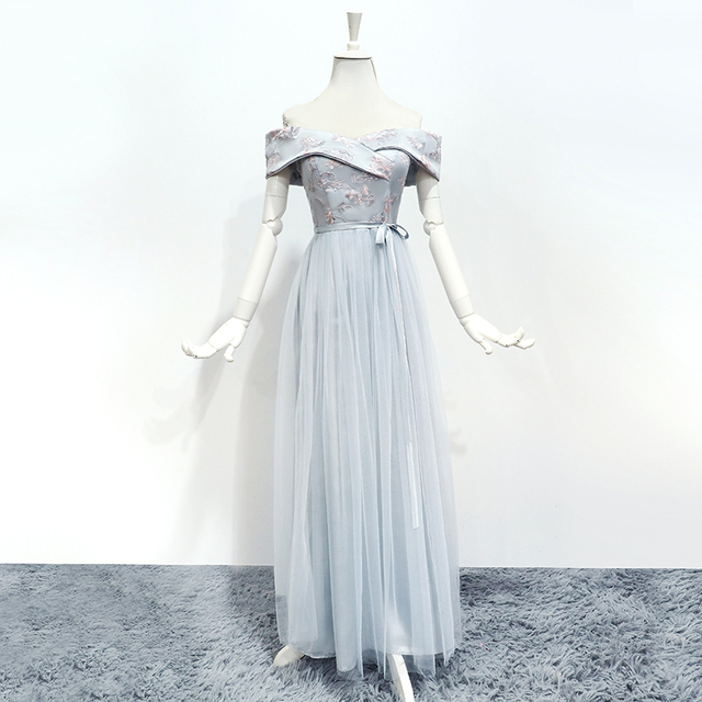 Bridesmaid Dresses Sleeveless Maid of Honor Dresses for Weddings Off The Shoulder Back of Bandage Dress Long  Embroidery Vestido