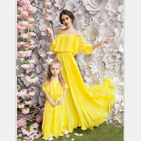 2018 Mother And Daughter Dress Summer Girls Beach Clothing flower Print Bohemia Style Mom and Me Clothes Family Matching Outfits