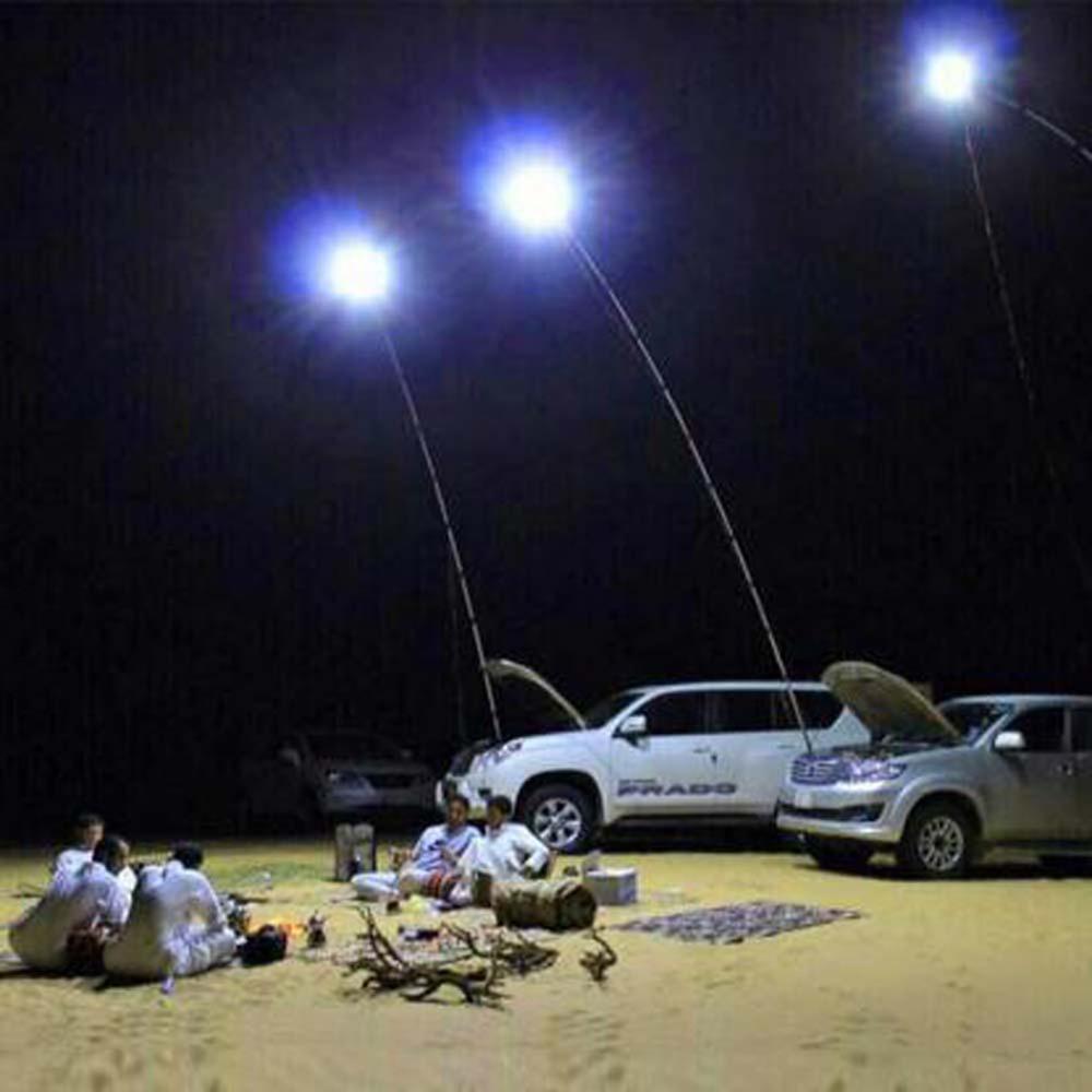Telescopic COB Rod LED Fishing Outdoor Camping Lantern DC12V 48W Beach Light Lamp Hiking BBQ 3 Levels Adjustable Brightness