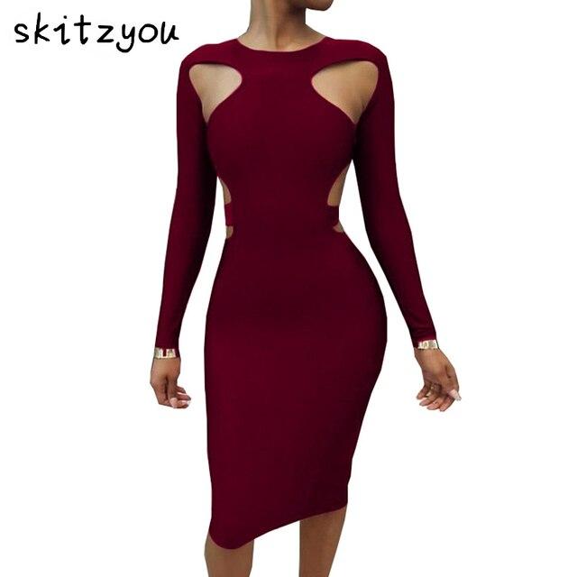 skitzyou vestidos Party Dresses Sexy Women Long Sleeve Hollow Out Slim Knee  Length Autumn Bodycon Dress 9a9c4d18ec3c