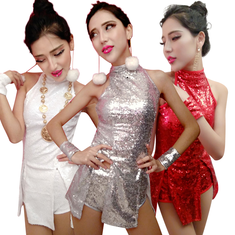 Hip Hop Dance Costume Women Jazz Costumes Street Dance Clothing Adult Cheerleading Sequin Outfit Vest Shorts Stage Dress DN3052