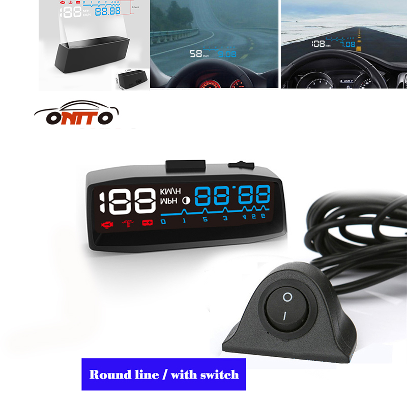 4F car hud with OBD2 interface head up display smart digital speedometer Fuel/Speed/Time Interior Lighting rastp m9 hud 5 5 inch head up windscreen projector obd2 euobd car driving data display speed rpm fuel consumption rs hud011
