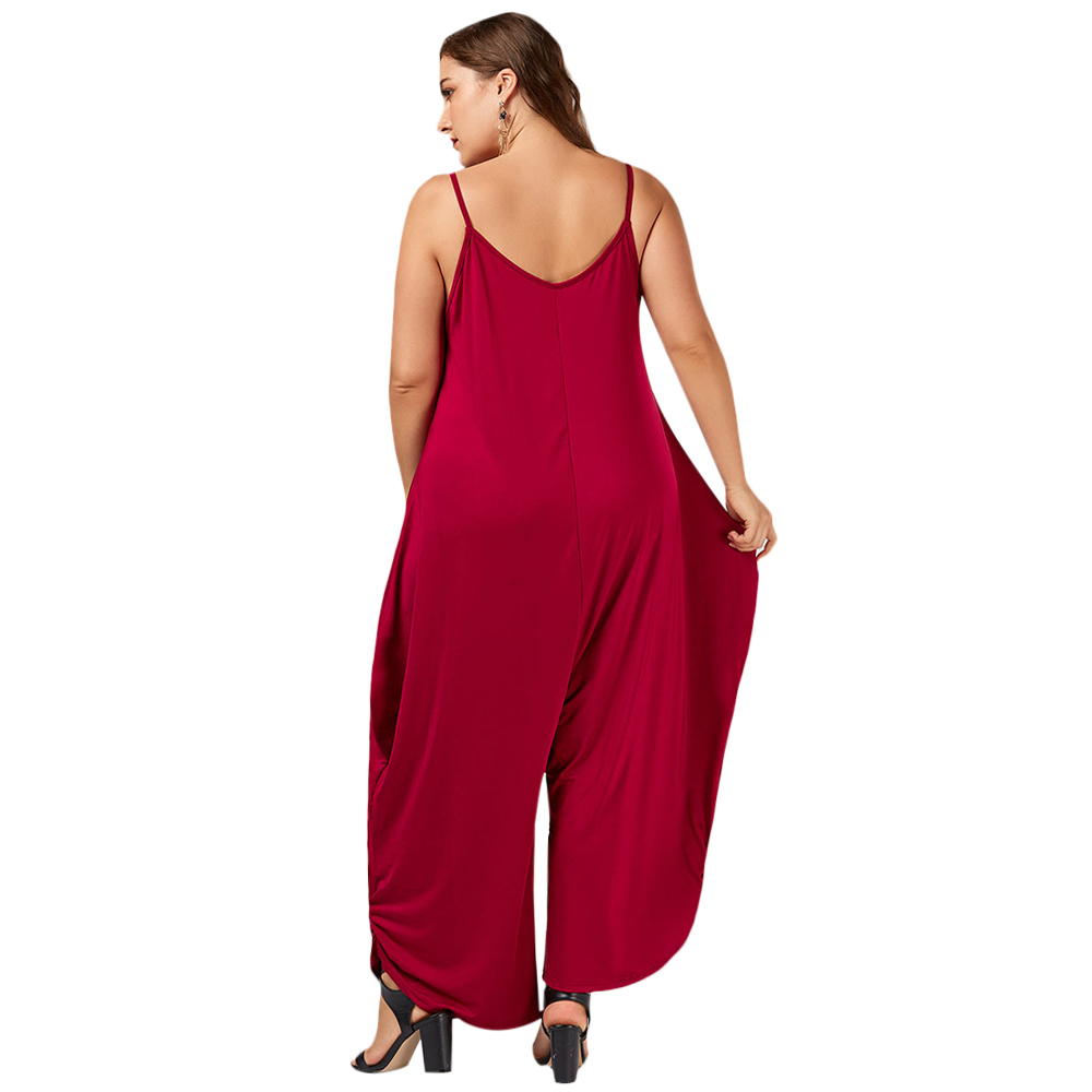 26ca905674a Gamiss Plus Size 7XL Low Cut Spaghetti Strap Baggy Jumpsuit Casual High  Waisted Maxi Harem Bodysuit Fashion Women Party Jumpsuit-in Jumpsuits from  Women s ...